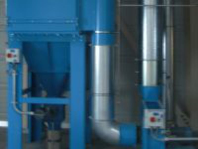 Dedusting premix production with filter, fan and pressure relief system according to VDI