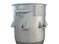 Reception tank in stainless steel for pneumatic conveyor systems
